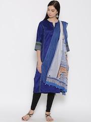 W Blue & Off-White Printed Dupatta
