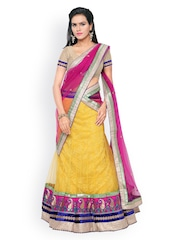 Touch Trends Beige & Yellow Brocade & Net Semi-Stitched Lehenga Choli with Dupatta