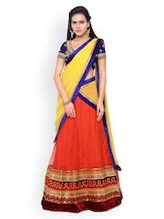 Touch Trends Blue & Orange Net & Velvet Semi-Stitched Lehenga Choli with Dupatta
