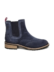 Superdry Women Navy Blue Suede Brogue Chelsea Boots