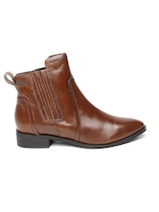 Superdry Women Brown Solid High-Tops Leather Heeled Boots