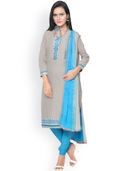 Saree mall Grey & Blue Patterned & Embellished Cambric Cotton Unstitched Dress Material