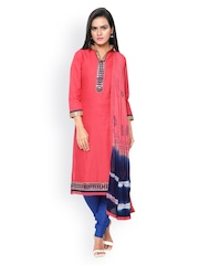 Saree mall Pink & Blue Patterned & Embellished Cambric Cotton Unstitched Dress Material