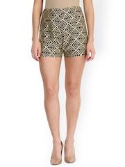 Miss Chase Women Black Printed Polyester Slim Fit Regular Shorts