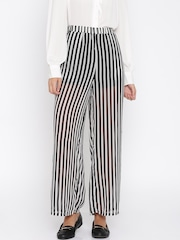 Jealous 21 Women Black & White Striped Regular Fit Palazzos