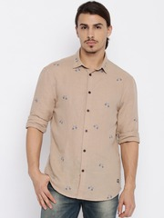 Jack & Jones Men Beige Printed Slim Casual Shirt
