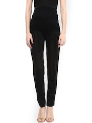 Mamacouture Women Black Solid Slim Fit Pleated Trousers