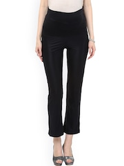 Mamacouture Women Black Solid Comfort Fit Flat-Front Trousers