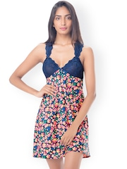 PrettySecrets Blue Floral Print Nightdress with Lace Detail PS0916LCSTSCS01