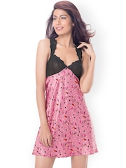PrettySecrets Pink & Black Printed Nightdress with Lace Detail PS0916LCSTSCS02