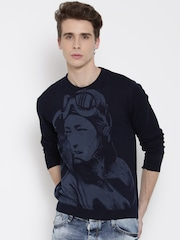 Wills Lifestyle Navy Patterned Sweater