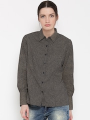 Mast & Harbour Women Navy Printed Casual Shirt
