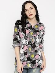 ONLY Women Black & Pink Regular Fit Printed Shirt