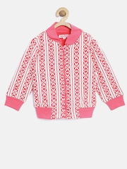 Nauti Nati Girls White & Pink Striped Jacket