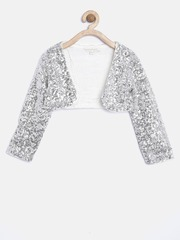 Nauti Nati Girls Silver-Coloured Sequinned Shrug