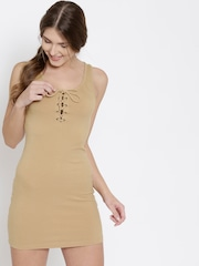 FOREVER 21 Women Beige Solid Sheath Dress