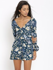 FOREVER 21 Teal Blue Floral Print Playsuit