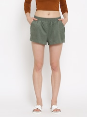 FOREVER 21 Women Olive Green Solid Shorts