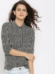 FOREVER 21 Women Black Printed Casual Shirt