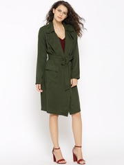 FOREVER 21 Olive Green Front-Open Longline Jacket