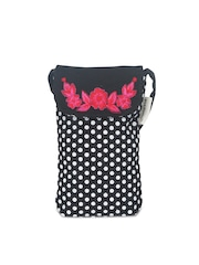 Pick Pocket Black & White Polka Dot Print Mobile Pouch