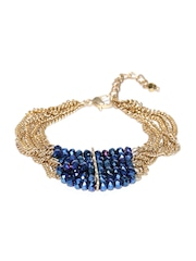 Blueberry Blue & Gold-Toned Multistranded Stone-Studded Bracelet