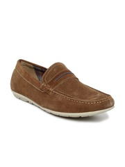 Bata Men Brown Solid Suede Leather Loafers
