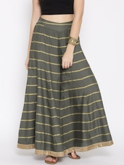 W Women Olive Green Printed Flared Palazzo Trousers