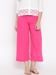 W Women Pink Solid Cropped Palazzo Trousers
