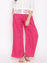W Women Pink Solid Palazzo Trousers