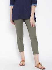 W Olive Green Cropped Trousers