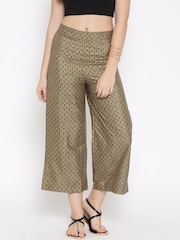 W Women Golden Printed Cropped Palazzo Trousers