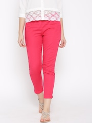 W Women Pink Solid Flat-Front Cropped Trousers