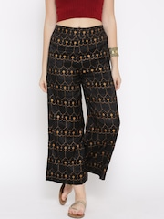 W Women Black Printed Ankle-Length Palazzo Trousers
