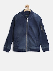 United Colors of Benetton Boys Navy Washed Denim Jacket
