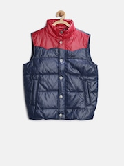 United Colors of Benetton Boys Navy & Red Colourblocked Padded Sleecveless Jacket