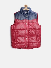 United Colors of Benetton Boys Red & Navy Colourblocked Padded Sleeveless Jacket
