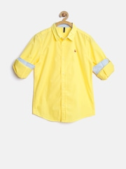 United Colors of Benetton Boys Yellow Solid Shirt