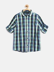 United Colors of Benetton Boys Green & Blue Checked Shirt