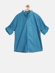 United Colors of Benetton Boys Blue Printed Shirt