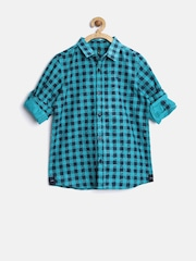 United Colors of Benetton Boys Blue Checked Shirt
