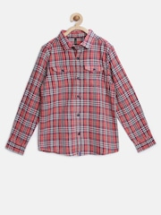 United Colors of Benetton Boys Rust Orange Flannel Checked Shirt