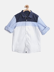 United Colors of Benetton Boys White Colourblocked Shirt