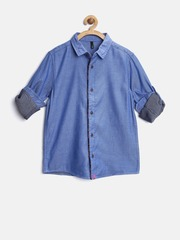 United Colors of Benetton Boys Blue Solid Shirt