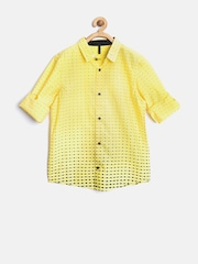United Colors of Benetton Boys Yellow Printed Shirt