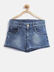 United Colors of Benetton Girls Blue Washed Denim Shorts