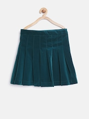 United Colors of Benetton Girls Teal Green Pleated Flared Skirt