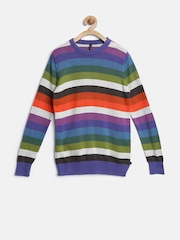 United Colors of Benetton Boys Multicoloured Striped Sweater