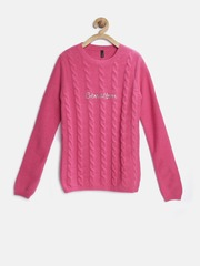 United Colors of Benetton Girls Pink Cable Knit Sweater