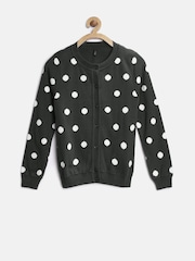 United Colors of Benetton Girls Charcoal Grey & White Polka Dot Pattern Cardigan